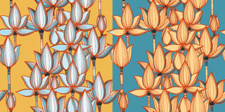 Two variants of seamless vector pattern with lotuses. Two variant of seamless pattern with lotuses. Vector retro floral background. eps 10 Royalty Free Stock Photos