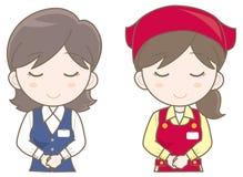 Supermarket assistant - Welcome woman set vector illustration
