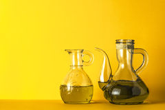Two varieties of extra virgin olive oil Royalty Free Stock Images