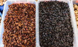 Two varieties of raisins Royalty Free Stock Photo