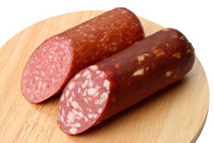Two varieties of smoked sausage Royalty Free Stock Image