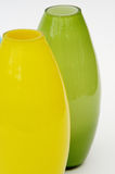 Two vases. Yellow and green Royalty Free Stock Photography