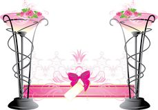 Two vases with pink roses. Wedding composition Royalty Free Stock Image