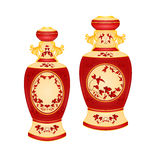 Two vases with red floral pattern vector Stock Photo