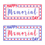 Two vector banner for Memorial Day. Decorations with stars, lettering and frame for USA Memorial Day. vector illustration