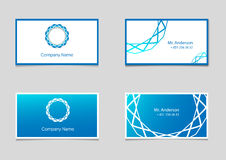 Two vector business card templates with blue gradient and company logo. Stock Photos