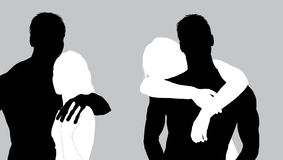 Two vector bw silhouettes of romantic couple stock image