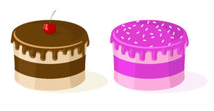 Two vector cakes Royalty Free Stock Photo