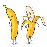 Two Vector Cartoon Banana Characters Stock Photo