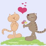 Two vector cartoon cats in love Royalty Free Stock Photography