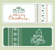 Two vector christmas stylized illustration with handwritten text. Merry christmas and knitting pattern on white and green background. Hand draw design for web Royalty Free Stock Photography
