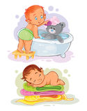 Two vector clip art illustration with kids Stock Photos