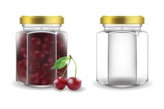 Glass jars with cherry jam and empty. Two vector covered glass jars, one empty, one with cherry jam isolated on white background. Element for design. Vector Royalty Free Stock Image