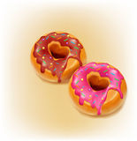 Two vector fried donut glaze and chocolate Stock Image