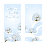 Two vector greeting banner for the winter holidays. Beautiful forest landscape. Delicate blue background, drifts of snow, lacy sno. W-covered trees and greeting Stock Photos