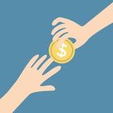 Two vector hands, giving money vector Stock Image