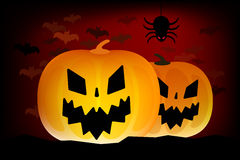 Two vector helloween pumpkins head  on Royalty Free Stock Photo