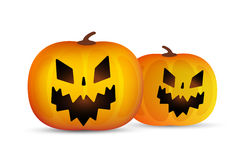 Two vector helloween pumpkins head isolated on Royalty Free Stock Image