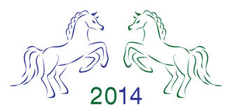 Two vector horses 2014 Stock Photos