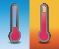 Two vector hot and cold thermometer. On a color background Stock Photos