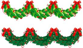 Two vector hristmas garlands (semicircle). Vector holly and fir garlands for christmas decoration in form wave Stock Image