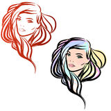 Two vector portraits Royalty Free Stock Photos
