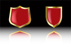 The two vector red shield Stock Photography
