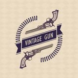 Two vector retro gun with tape and cartridges Stock Images