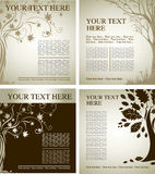 Two Vector samples of design with decorative tree Royalty Free Stock Image