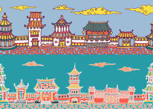 Two vector seamless panorama of chinese or japanese old town. Two hand drawn vector seamless panorama of chinese or japanese old town Royalty Free Stock Image