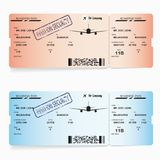 Two vector templates of boarding pass tickets. Red and blue vector templates of boarding pass tickets. Concept of trip or travel Stock Photo