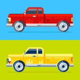 Two vector trucks. Collection of two vector modern trendy pick ups on a different colored background. 100% vector illustration, easy to edit and recolor Royalty Free Stock Photo