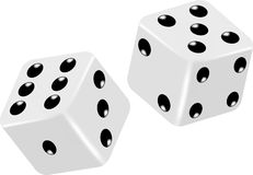 Two Vector White Dice. On a white background Stock Photos
