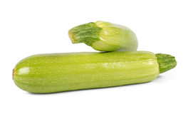 Two vegetable marrows isolated on white background Stock Photos