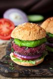 Two vegetarian burgers with beetroot stock photos