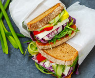 Two vegetarian sandwiches with feta cheese Royalty Free Stock Photography