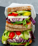 Two vegetarian sandwiches with feta cheese Stock Image