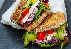Two vegetarian sandwiches with feta cheese Stock Photo