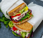 Two vegetarian sandwiches with feta cheese Stock Images