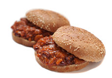 Two vegetarian sloppy joes on white Stock Photography