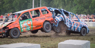 Demolition Derby Crash. Two vehicles making full speed rear contact at the Chesterville, Ontario, Canada Demolition Derby in July 2012 royalty free stock photography