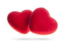 Two velvet hearts  on a white background. Stock Photos