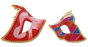Two venetian masks. Profile image of two venetian masks isolated against a white background Royalty Free Stock Photography