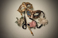 Two Venetian masks Stock Images