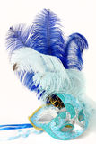Two Venetian masks with feathers. On white background Royalty Free Stock Images