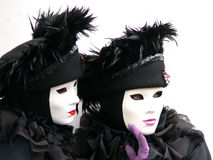 Two Venice black and white masks Stock Photography