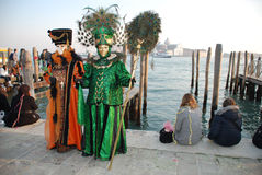 Two Venice Carnival Goers, Italy Stock Photos