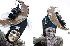 Two Venice Masks, Carnival. Stock Photos