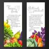 Two vertical banners with fresh fruits and vegetables on a black Royalty Free Stock Image