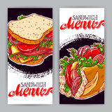 Two vertical banners with sandwiches Royalty Free Stock Photo